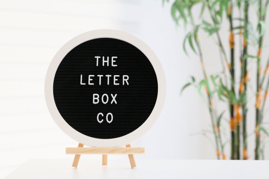 Another unique piece to The Letter Box Co:  The 10 x 10 inch round felt board with white oak frame and black felt.  This board is best suited for hanging on both plain or designed walls, or for parties of all occasions!