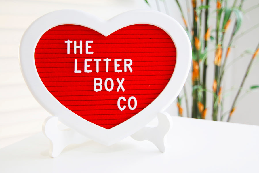 The 10 x 8 inch heart-shaped felt letter board in classic white oak frame and red felt. This board is bound to capture both your heart and attention.