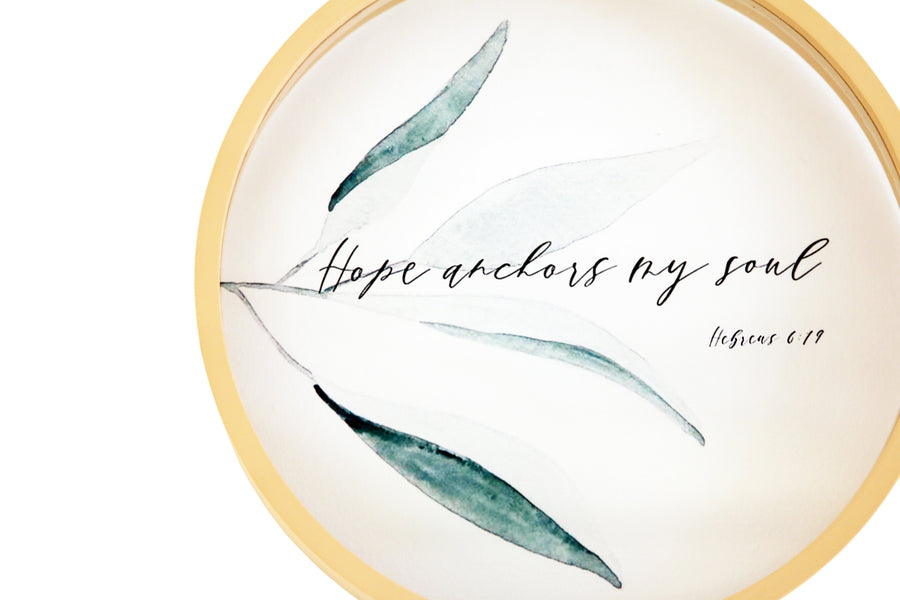 Hope Anchors My Soul Round Glass Frame
