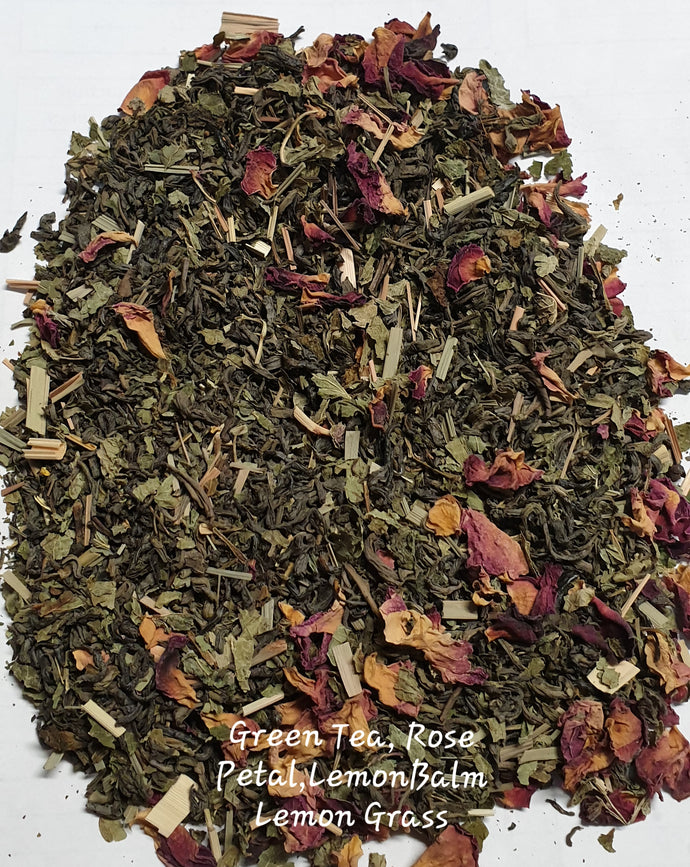 Herbal Tea Blend Organic - Green Tea, Lemon Balm, Lemon Grass, Rose Petals