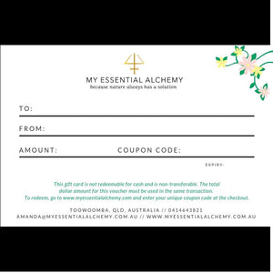 gift certificate My Essential Alchemy essential oils