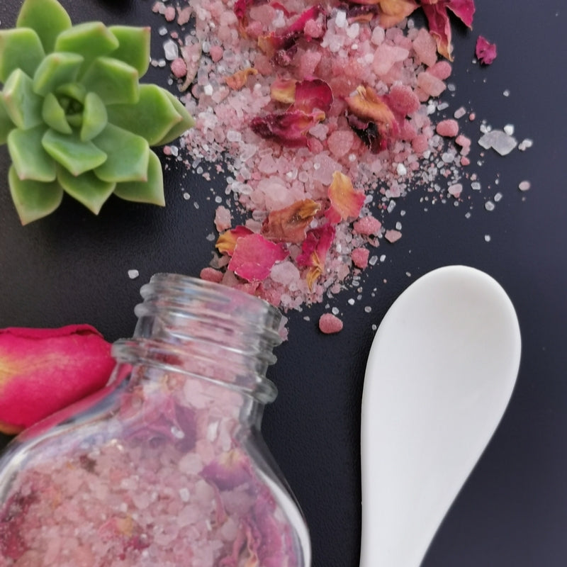rose bath salts detox petals