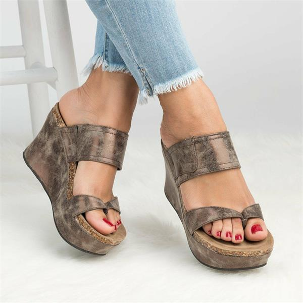Strappy Platform Wedges Open Toe Slingback Cork Heel Slip on Thong Sandals