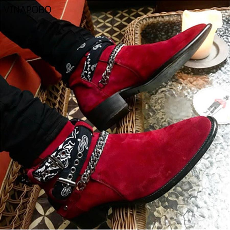 Buckle Strap Graffiti Cloth Chelsea Boots Suede Catwalk T show Men casual Boots