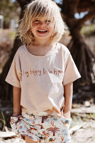 OAK MEADOW KIDS - 'MAGIC ISLE' - STAY TRIPPY LITTLE HIPPY TEE