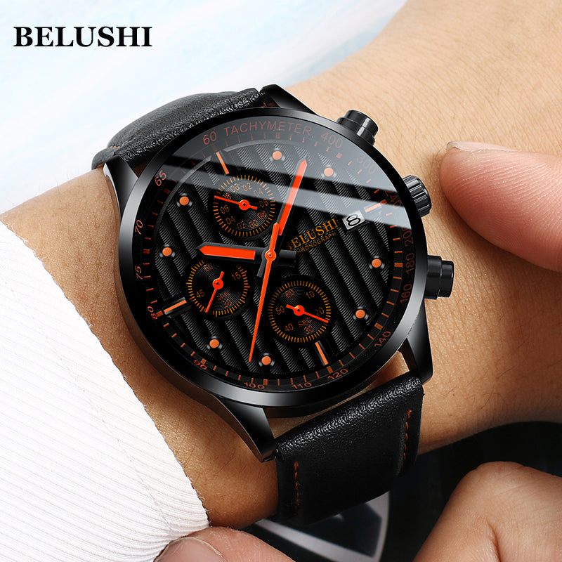 (Limited time offer)Men's Military Sports Quartz Date Casual Leather Watch