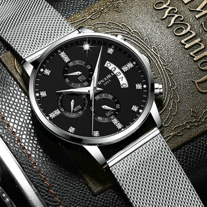 Top Luxury brand men Quartz Mesh Belt Waterproof Casual Fashion Business Watch