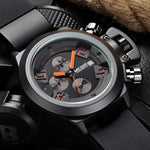 [Hot sale!!] - men's waterproof black silicone military sports watch