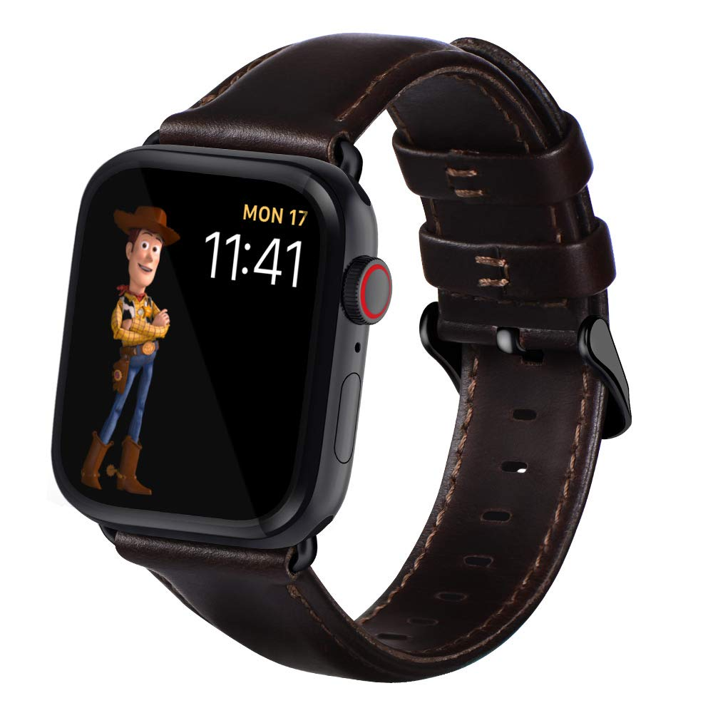 Apple Watch Band leather leather strap, vintage crazy horse texture compatible with Apple Watch series 4/3/2/1 series