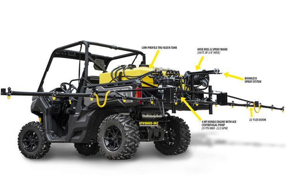 100Gal - Manually Controlled UTV Skid Sprayer w/ 12V Electric Pump [70 PSI Max - 7 GPM]-Mid-South Ag. Equipment