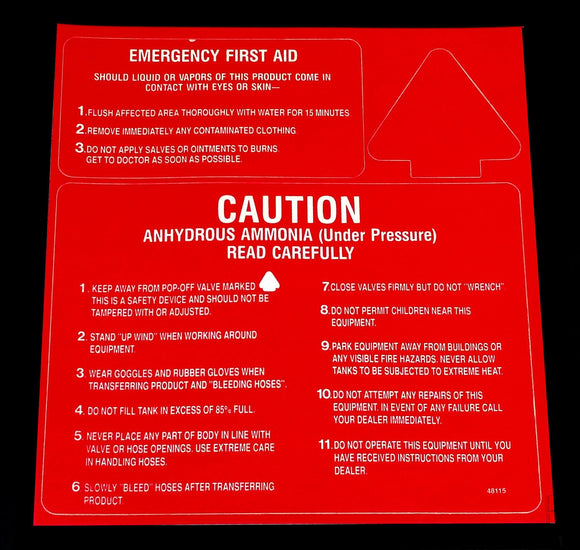Decal - 3 Point CAUTION/FIRST AID - White on Red - NH3 Safety Decal-Mid-South Ag. Equipment