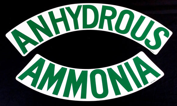 Decal - ANHYDROUS AMMONIA (Curved) - Green on White - NH3 Safety Decal-Mid-South Ag. Equipment