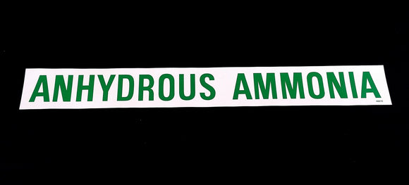 Decal - ANHYDROUS AMMONIA - Green on White - NH3 Safety Decal-Mid-South Ag. Equipment