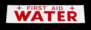 Decal - WATER/FIRST AID - Red on White - NH3 Safety Decal-Mid-South Ag. Equipment