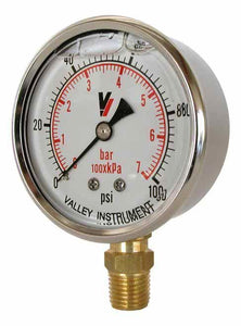 "Valley Industries - 2-1/2"" - 100 P.S.I. Liquid Filled Pressure Gauge - 2140GXB100-Mid-South Ag. Equipment"