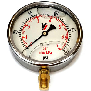 "Valley Industries - 4"" - 100 P.S.I. Liquid Filled Pressure Gauge - 4140GXB100-Mid-South Ag. Equipment"