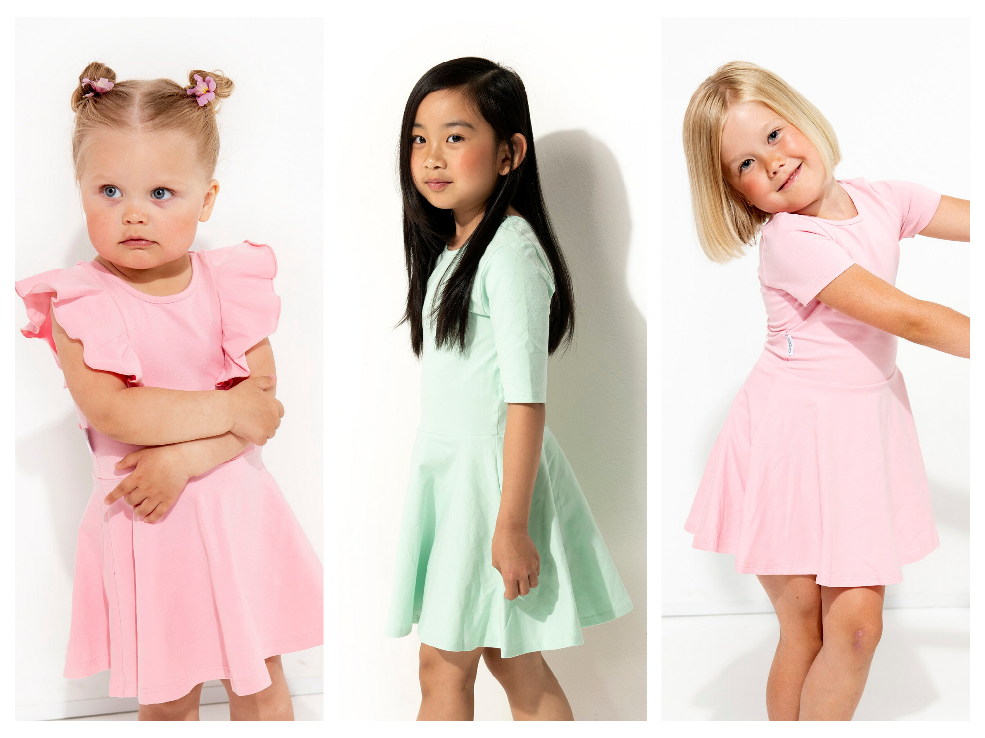 Adorable kids dresses. Pink dress for girls. Pink dress for kids. Mint dress for kids.