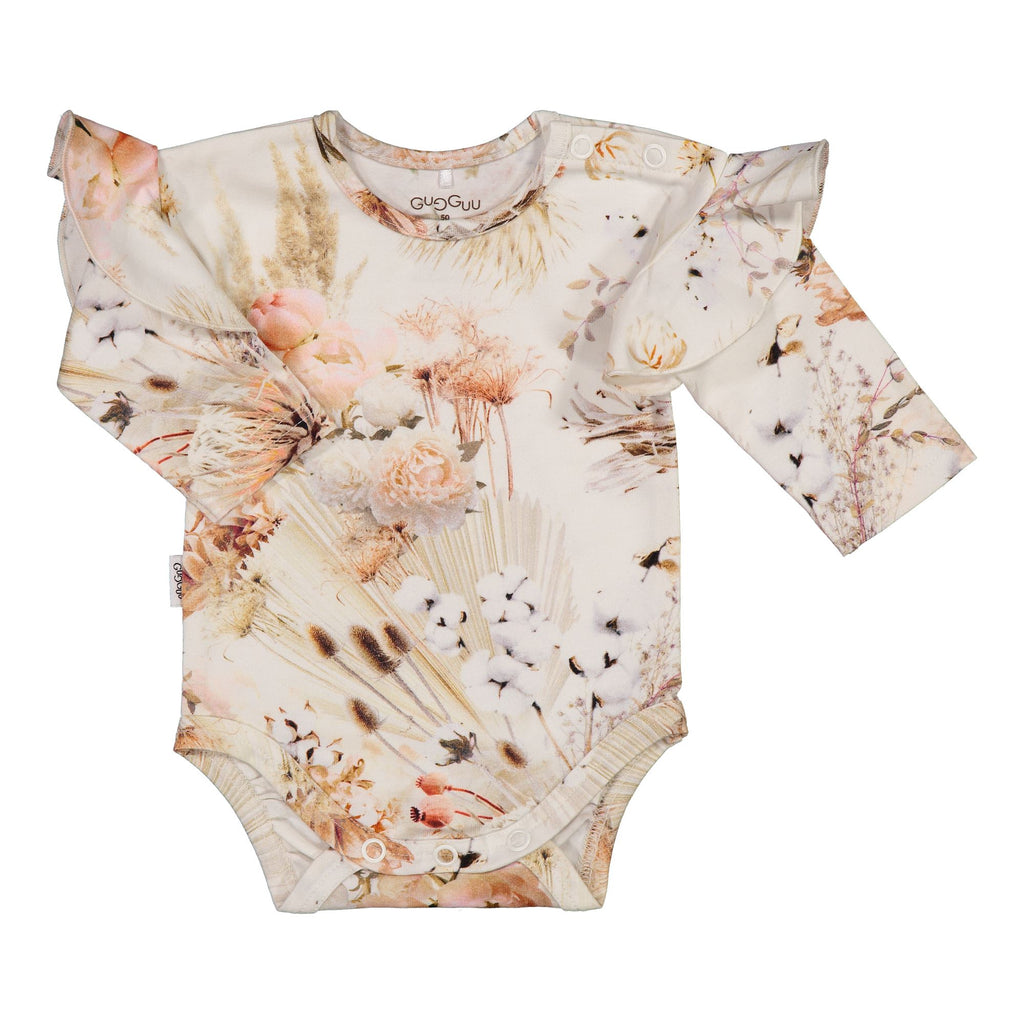 Gugguu Baby Print Frilla Body Bodyt Natural Flower 50