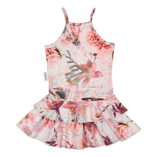 Gugguu Outlet Print Spaget Dress Mekot Pink Hummingbirds 74