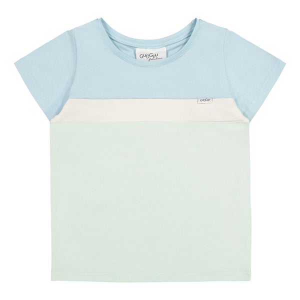 Gugguu Stripe T-paita Paidat Baby Blue / White Sand / Sea Glass 80