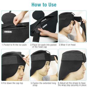 ARRIS Ice Cap for Headache and Migraine - Pain Relief Hat with Ice Pack for Migraine, Head and Neck Tension, Hot Cold Therapy Treatment
