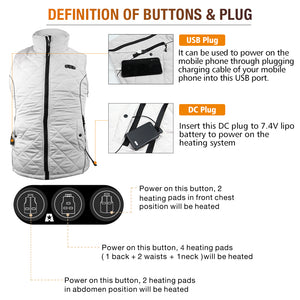 ARRIS Heated Vest for Women, Size Adjustable 7.4V Electric Warm Vest 8 Heating Panels with Battery Pack