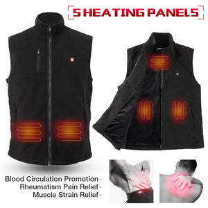 ARRIS Electric Heated Vest Size Adjustable 5V USB Warm Vest For Outdoor Camping (Fleece)