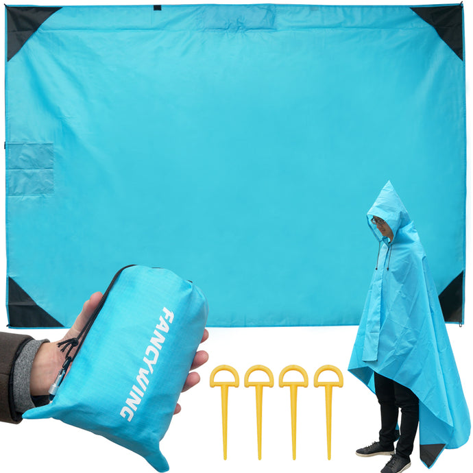 Outdoor Waterproof Windproof Beach Blanket Sand Proof with Hood and Zipper Pocket(55 x 78 inches)