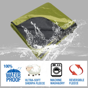 Fancywing Outdoor Waterproof Windproof Stadium Large Size Fleece Blanket with Hood (79 x 55 inches)