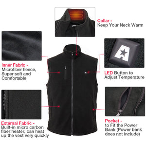 2019 New ARRIS 7.4V Battery Heated Vest Size Adjustable Vest(Fleece)