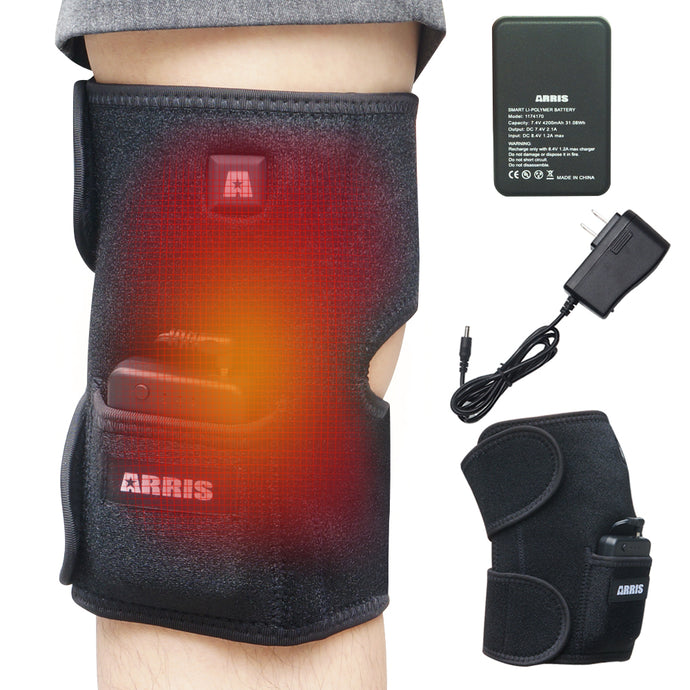 ARRIS 7.4V 4200mah Battery Therapy Heated Knee Pad Wrap and Electric Heat Knee Brace for Pain Relief