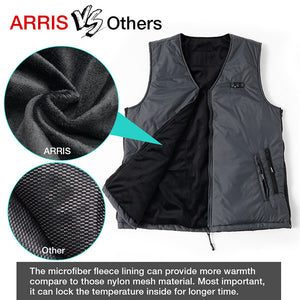 ARRIS Heated Vest Size Adjustable 7.4V Battery Electric Warm Vest for Hiking Camping