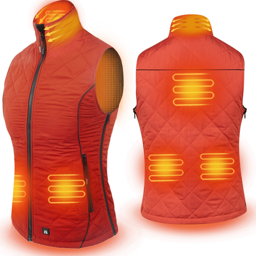 ARRIS Size Adjustable 7.4V Battery Orange Electric Heated Vest Clothing for Women Hiking Camping