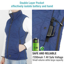 Load image into Gallery viewer, ARRIS Size Adjustable 7.4V Battery Blue Electric Heated Vest Clothing for Women