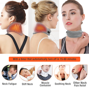 ARRIS USB Cord Graphene Far Infrared Therapy Heating Neck Brace Wrap with Adjustable Time and Temperature Control