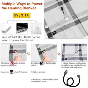 5V USB 55.1X31.5inch Portable Wearable Heated Fleece Shawl Cape Blanket for Home Office Car Camping