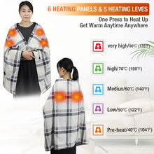 Load image into Gallery viewer, 5V USB 55.1X31.5inch Portable Wearable Heated Fleece Shawl Cape Blanket for Home Office Car Camping