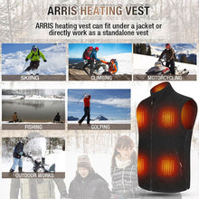 Load image into Gallery viewer, ARRIS Fleece Heated Vest for Men 7.4V Electric Warm Vest 8 Heating Panels Size Adjustable for Hiking Cycling …
