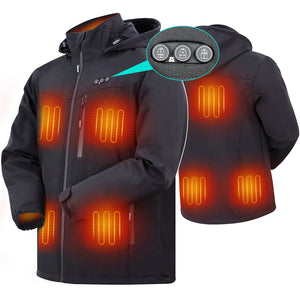 ARRIS Heated Jacket for Men, Electric Warm Heating Coat with 7.4V Rechargable Battery/8 Heating Areas/Phone Charging Port