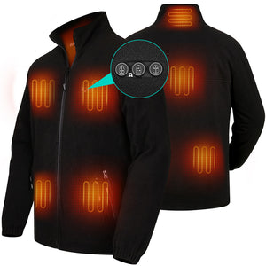 2020 New ARRIS Fleece Heated Jacket for Men, Electric Warm Heating Coat with 7.4V Rechargable Battery/8 Heating Areas/Phone Charging Port