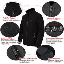 Load image into Gallery viewer, 2020 New ARRIS Fleece Heated Jacket for Men, Electric Warm Heating Coat with 7.4V Rechargable Battery/8 Heating Areas/Phone Charging Port