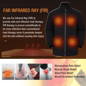 ARRIS Fleece Heated Jacket for Men, Electric Warm Heating Coat with 7.4V Rechargable Battery/8 Heating Areas/Phone Charging Port