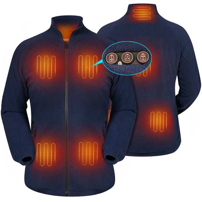 ARRIS Women`s Heated Fleece Jacket with Battery, Electric Heating Coat Full Zip w/Hand Warmer + Phone Charging Function