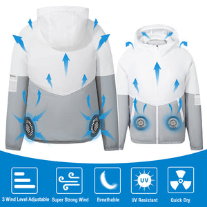 ARRIS Men 5V USB Cooling Fan Jacket Clothing and Air Conditioned Coat for Summer Outdoor Work