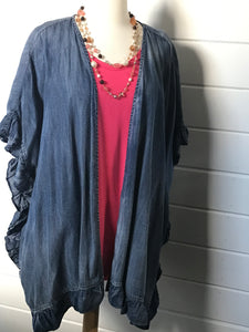 Easel Denim Ruffle Jacket