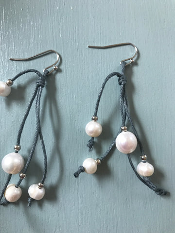 Knotted Pearls on Strings Earrings