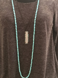 Adjustable Turquoise and Brown Crystal Necklace