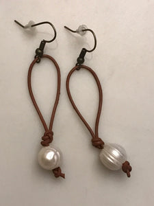 Tan Leather Cord Earring