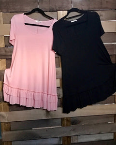 Easel Short Sleeve Ruffle Tops in Black and Blush