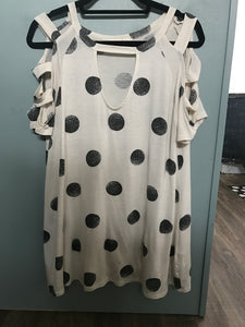 Charcoal Polka Dot Keyhole Top